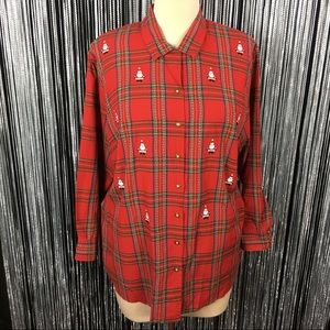 NWT Karen Scott Red Plaid Santa Button Down Shirt